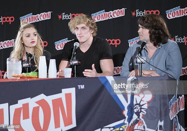 Logan Paul Peyton List and director Michael J Gallagher speak onstage at the The Thinning Panel at 2016 New York Comic Con on October 8 2016 in New...