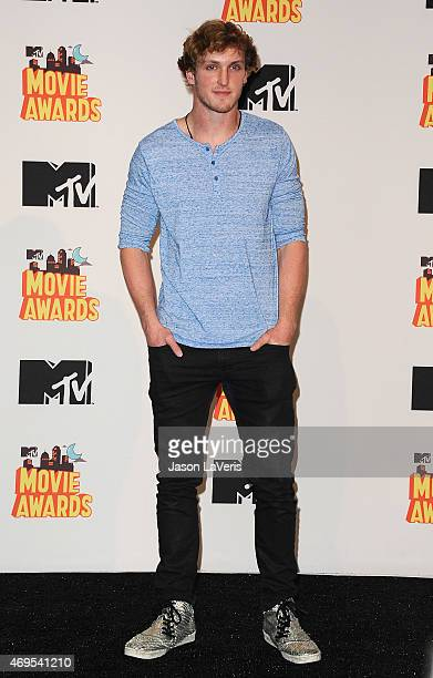Logan Paul poses in the press room at the 2015 MTV Movie Awards at Nokia Theatre LA Live on April 12 2015 in Los Angeles California