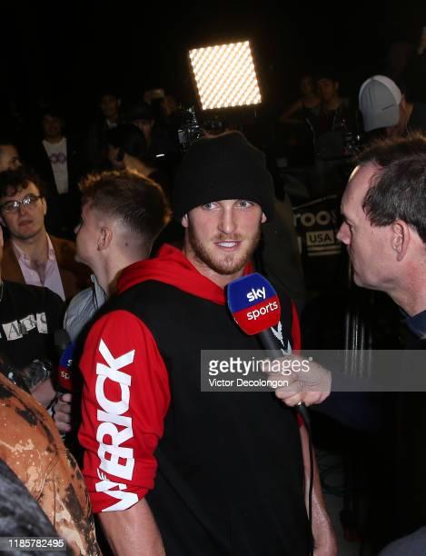 Logan Paul speaks with the media after working out at Venice Beach ahead of KSI vs Logan Paul 2 on November 05 2019 in Venice California KSI vs Logan...
