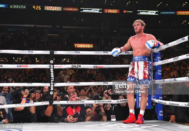 Logan Paul waits in a neutral corner after he knocked down KSI during their pro debut fight at Staples Center on November 9 2019 in Los Angeles...