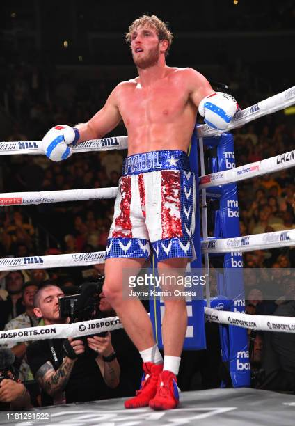 Logan Paul waits in a neutral corner after knocking down KSI during their pro debut fight at Staples Center on November 9 2019 in Los Angeles...