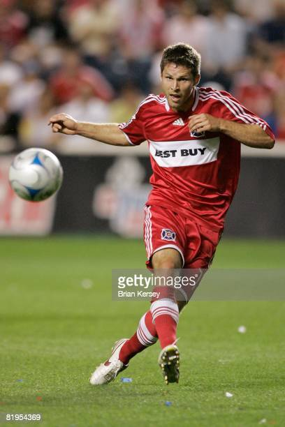 Logan Pause of the Chicago Fire passes the ball against Toronto FC during the second half at Toyota Park on July 12 2008 in Bridgeview Illinois The...