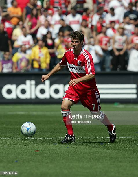 Logan Pause of the Chicago Fire plays the ball against the Kansas City Wizards during their MLS match on April 20 2008 at Toyota Park in Bridgeview...