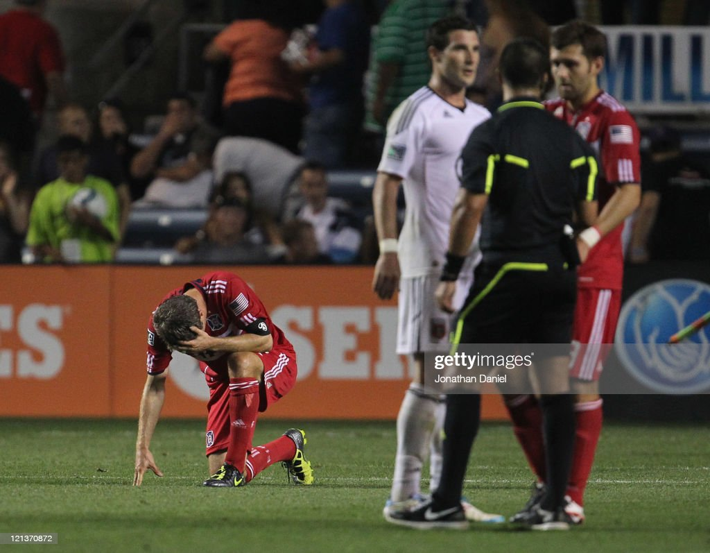 Logan Pause #12 of the Chicago Fire reacts after the Fire suffer their 15th tie of the season against D.C. United during an MLS match at Toyota Park on August 18, 2011 in Bridgeview, Illinois. The Fire and D.C. United tied 1-1.