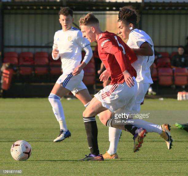 Logan Pye of Manchester United U18s in action during the U18 Premier League match between Manchester United U18s and Leeds United U18s at Aon...