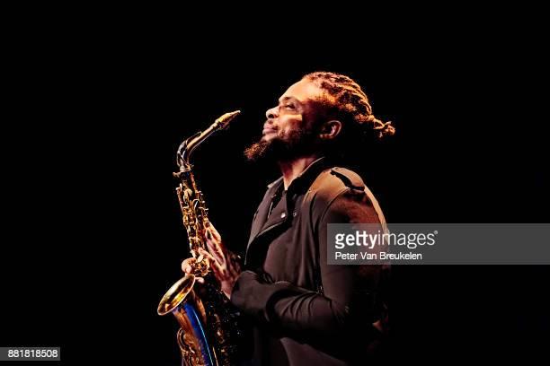 Logan Richardson performs with Christian Scott aTundje Adjuahaf at Lantaren Venster on November 19 2017 in Rotterdam Netherlands