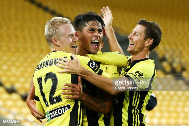 Logan Rogerson of the Phoenix celebrates with Adam Parkhouse and Nathan Burns after scoring a goal during the round 24 A-League match between the...