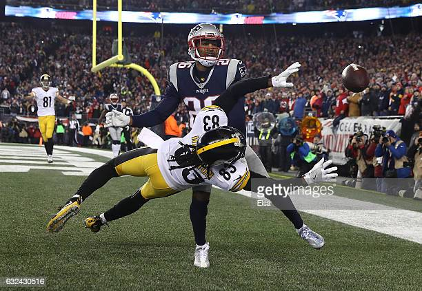Logan Ryan of the New England Patriots attempts to break up a pass inteded for Cobi Hamilton of the Pittsburgh Steelers during the fourth quarter in...