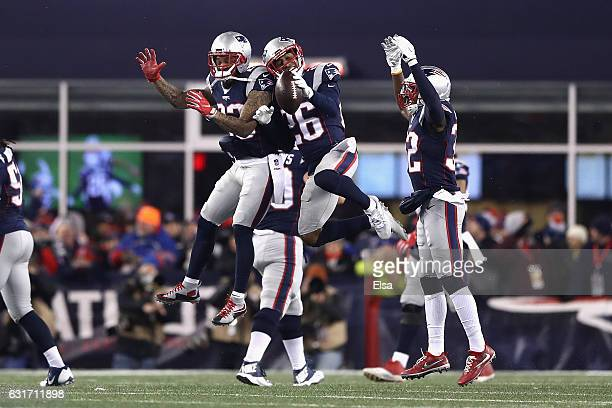 Logan Ryan of the New England Patriots reacts in the second half against the Houston Texans during the AFC Divisional Playoff Game at Gillette...