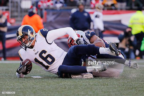 Logan Ryan of the New England Patriots sacks Jared Goff of the Los Angeles Rams during the second quarter of their game at Gillette Stadium on...