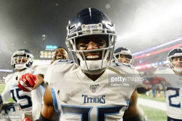 Logan Ryan of the Tennessee Titans celebrates their 2013 win over the New England Patriots in the AFC Wild Card Playoff game at Gillette Stadium on...