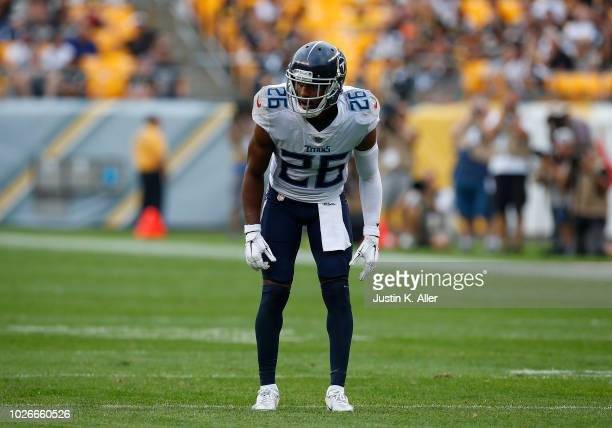 Logan Ryan of the Tennessee Titans in action against the Pittsburgh Steelers during a preseason game on August 25 2018 at Heinz Field in Pittsburgh...