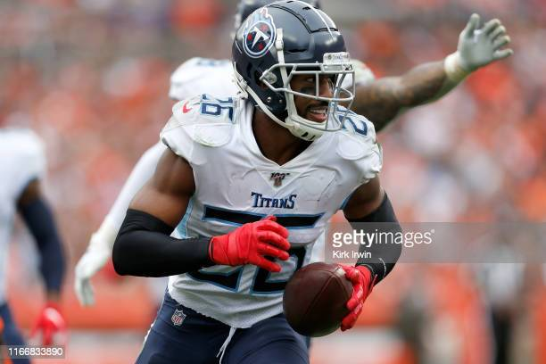 Logan Ryan of the Tennessee Titans runs off of the field after intercepting a pass during the fourth quarter of the game agains the Cleveland Browns...