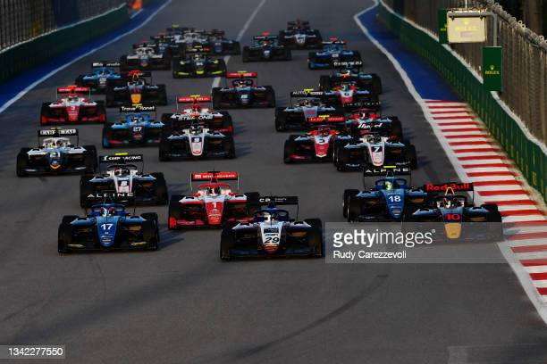 Logan Sargeant of United States and Charouz Racing System leads the field at the start during race one of Round 7:Sochi of the Formula 3 Championship...