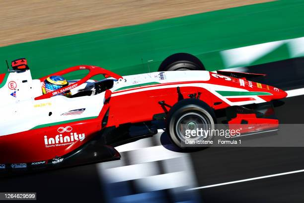 Logan Sargeant of United States and Prema Racing drives during race one of the Formula 3 Championship at Silverstone on August 08, 2020 in...