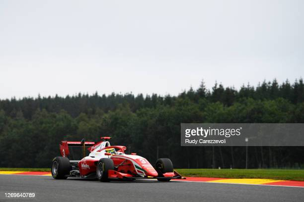 Logan Sargeant of United States and Prema Racing drives during race two of the Formula 3 Championship at Circuit de Spa-Francorchamps on August 30,...