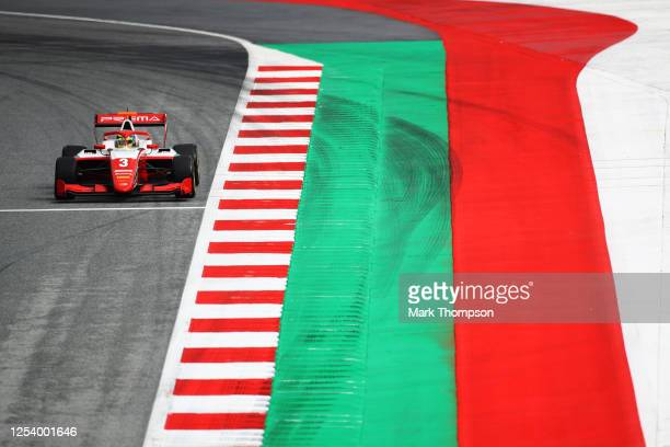 Logan Sargeant of United States and Prema Racing drives on track during practice for the Formula 3 Championship at Red Bull Ring on July 03, 2020 in...