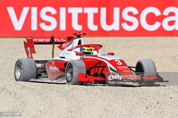 Logan Sargeant of United States and Prema Racing drives runs wide before retiring during the Formula 3 Championship Second Race at Mugello Circuit on...