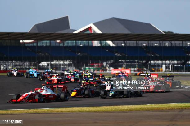 Logan Sargeant of United States and Prema Racing leads Liam Lawson of New Zealand and Hitech Grand Prix , Jake Hughes of Great Britain and HWA...