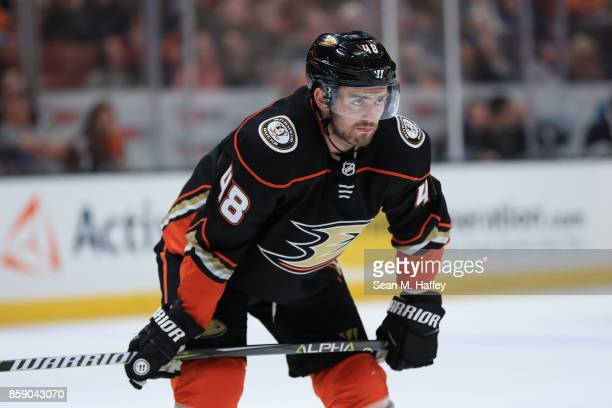 Logan Shaw of the Anaheim Ducks looks on during the third period of a preseason game against the San Jose Sharks at Honda Center on September 28 2017...