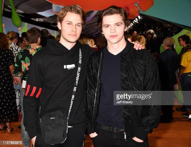 Logan Shroyer and Joel Courtney attend Nickelodeon's 2019 Kids' Choice Awards at Galen Center on March 23 2019 in Los Angeles California