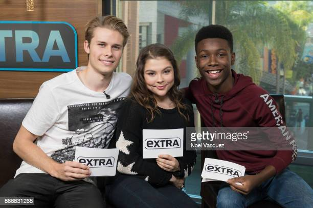 Logan Shroyer Hannah Zeile and Niles Fitch visit 'Extra' at Universal Studios Hollywood on October 26 2017 in Universal City California