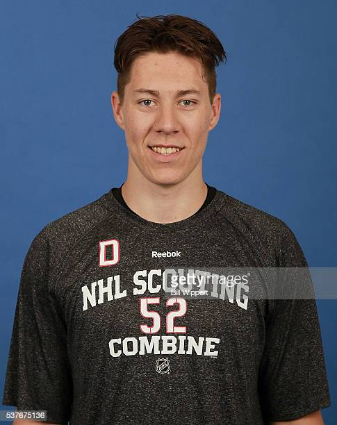 Logan Stanley poses for a headshot at the 2016 NHL Combine on June 2 2016 at Harborcenter in Buffalo New York