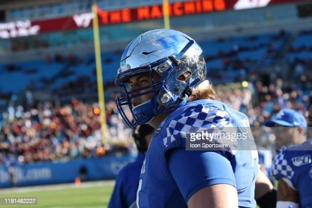Logan Stenberg of Kentucky during the Belk Bowl college football game between the Virginia Tech Hokies and the Kentucky Wildcats on December 31 at...