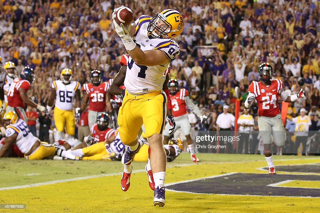 Logan Stokes #84 of the LSU Tigers catches a touchdown pass against the Mississippi Rebels at Tiger Stadium on October 25, 2014 in Baton Rouge, Louisiana. The Tigers defeated the Rebels 10-7