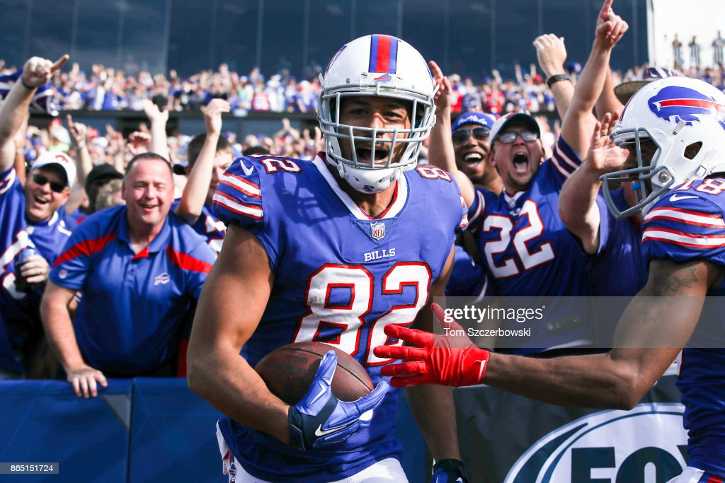 Logan Thomas #82 of the Buffalo Bills celebrates with fans after scoring a touchdown during the third quarter of an NFL game against the Tampa Bay Buccaneers on October 22, 2017 at New Era Field in Orchard Park, New York.