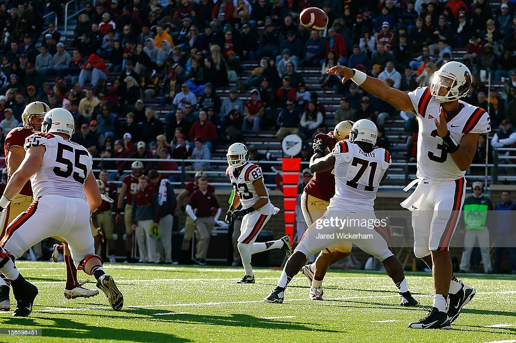 Logan Thomas #3 of the Virginia Tech Hokies throws a pass against the Boston College Eagles during the game on November 17, 2012 at Alumni Stadium in Chestnut Hill, Massachusetts.