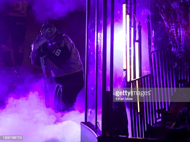Logan Thompson of the Henderson Silver Knights waits to be introduced before a game against the Ontario Reign during the Silver Knights' inaugural...