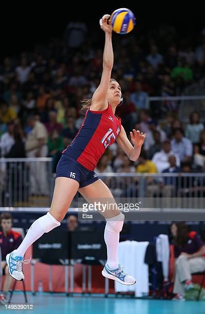 Logan Tom of United States serves in the Women's Volleyball Preliminary match between the United States and Brazil on Day 3 of the London 2012...