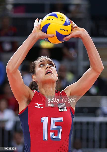 Logan Tom of United States sets the ball in the Women's Volleyball Preliminary match between the United States and Brazil on Day 3 of the London 2012...
