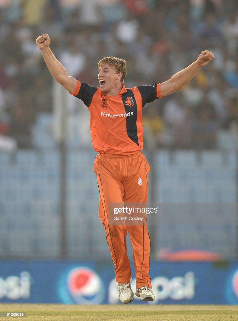 Logan van Beek of the Netherlands celebrates dismissing Kane Williamson of New Zealand during the ICC World Twenty20 Bangladesh 2014 Group 1 match between New Zealand and the Netherlands at Zahur Ahmed Chowdhury Stadium on March 29, 2014 in Chittagong, Bangladesh.