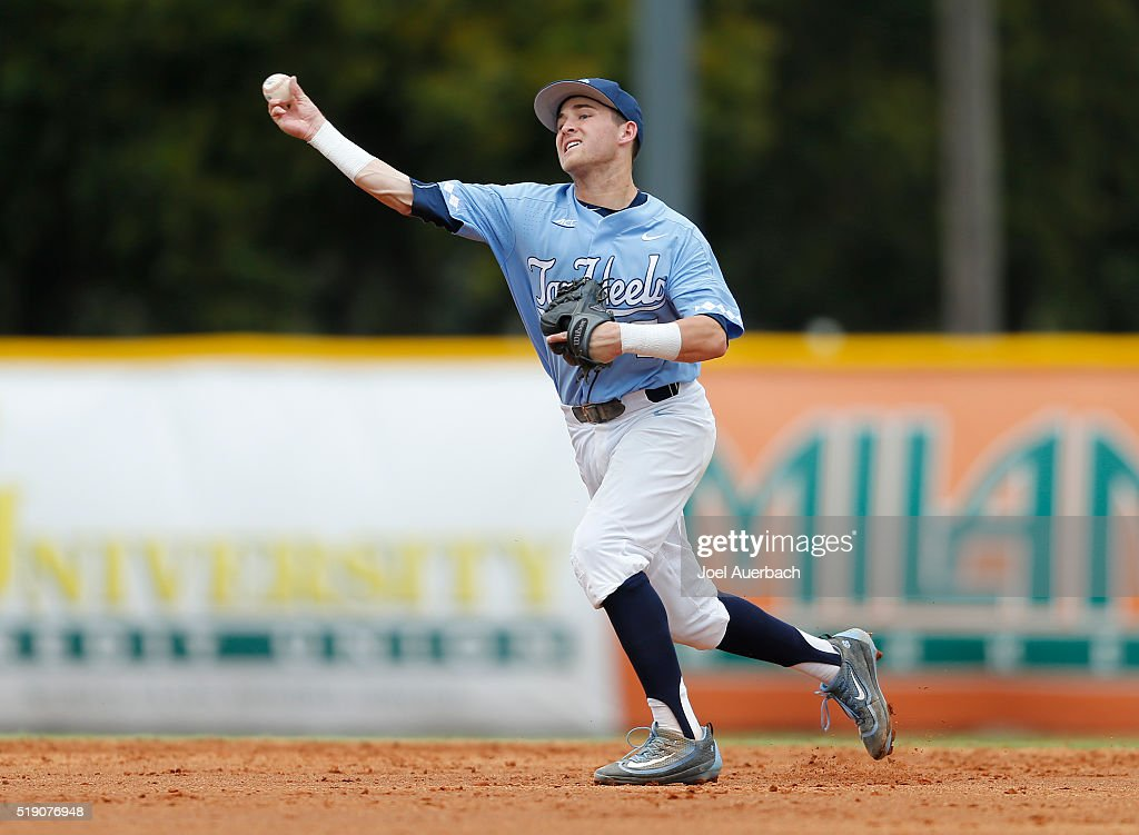 Logan Warmoth #7 of the North Carolina Tar Heels fields the ball hit by Brandon Lopez #51 (not pictured) of the Miami Hurricanes on April 3, 2016 at Alex Rodriguez Park at Mark Light Field in Coral Gables, Florida. Miami defeated North Carolina 7-4.