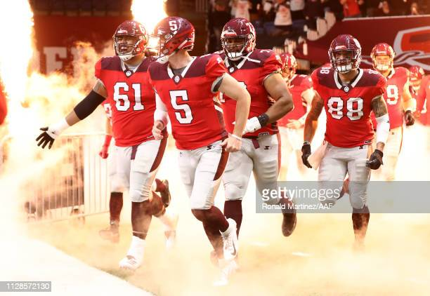 LoganWoodside of the San Antonio Commanders runs onto the field with teammates prior to an Alliance of American Football game against the San Diego...