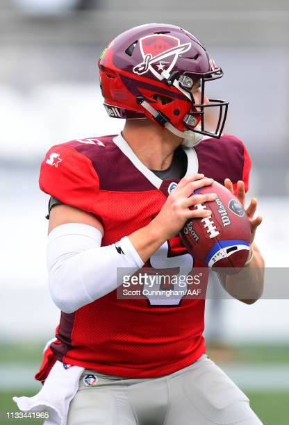 LoganWoodside of the San Antonio Commanders warms up before an Alliance of American Football game against the Birmingham Iron at Legion Field on...