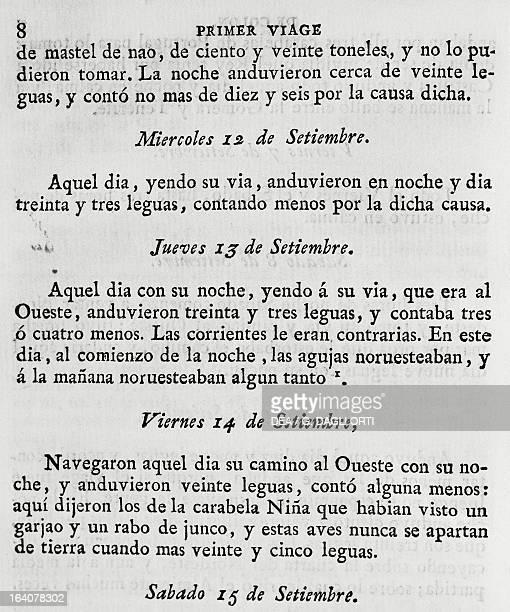 Logbook of the first voyage of Christopher Columbus 11121314 September 1492 from Coleccion de los viages y descubrimientos que hicieron por mar los...