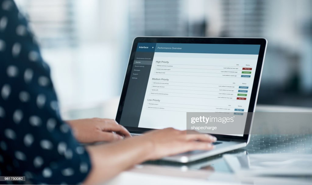 Logged into work productivity : Stock Photo