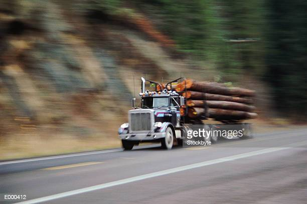 Logging truck on highway