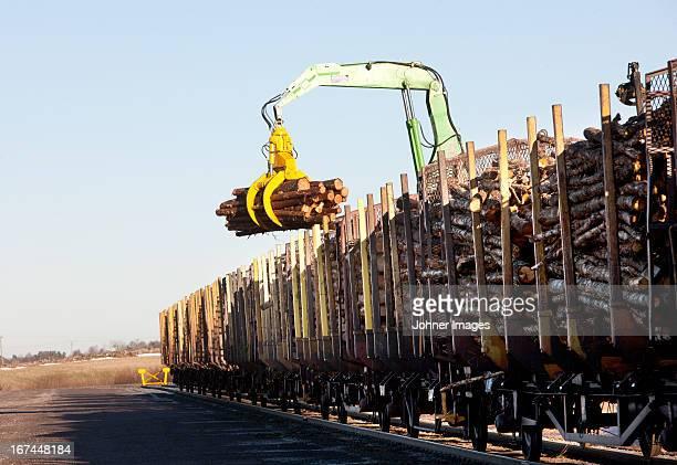 Logging vehicle loading timber