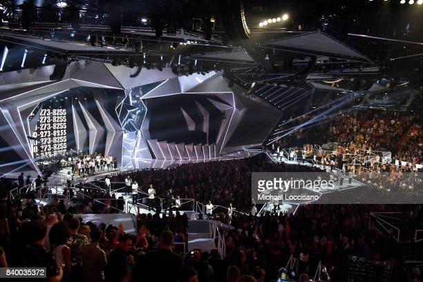 Logic Alessia Cara Khalid and special guests perform onstage during the 2017 MTV Video Music Awards at The Forum on August 27 2017 in Inglewood...