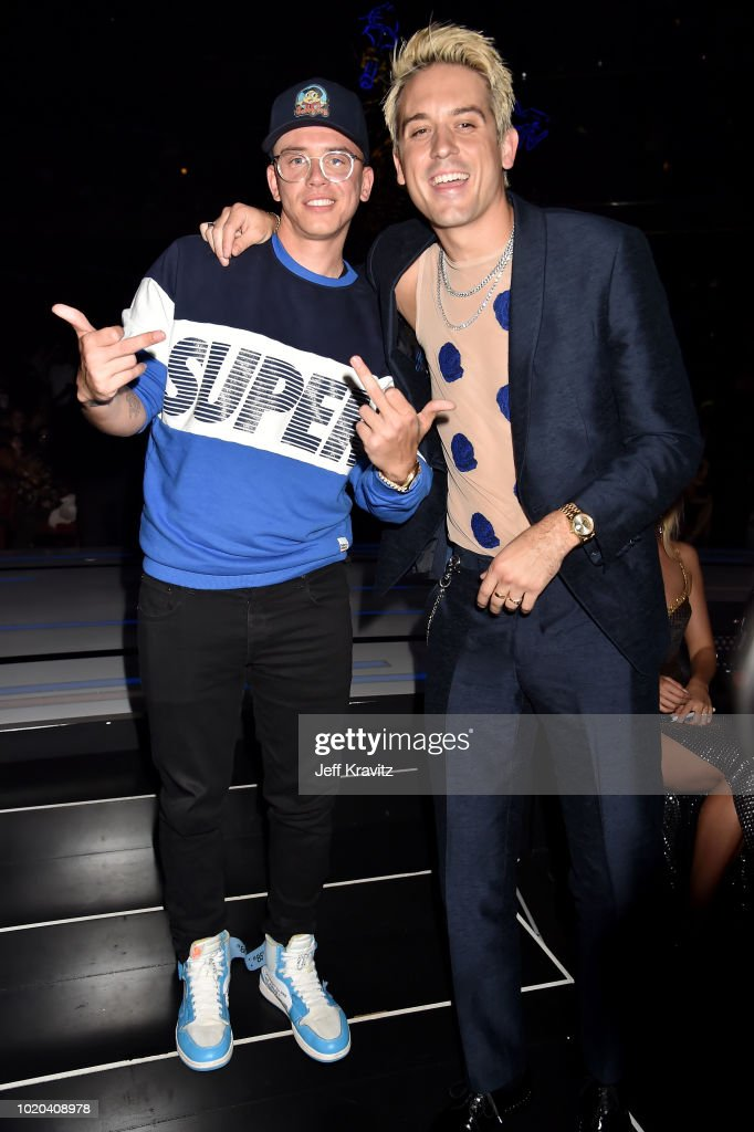 Logic and G-Eazy pose backstage during the 2018 MTV Video Music Awards at Radio City Music Hall on August 20, 2018 in New York City.