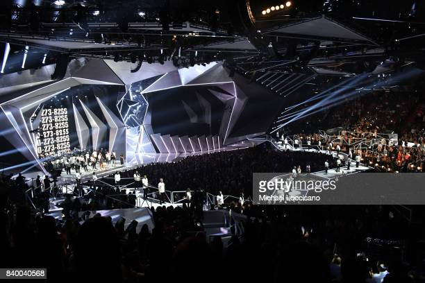 Logic performs onstage during the 2017 MTV Video Music Awards at The Forum on August 27 2017 in Inglewood California