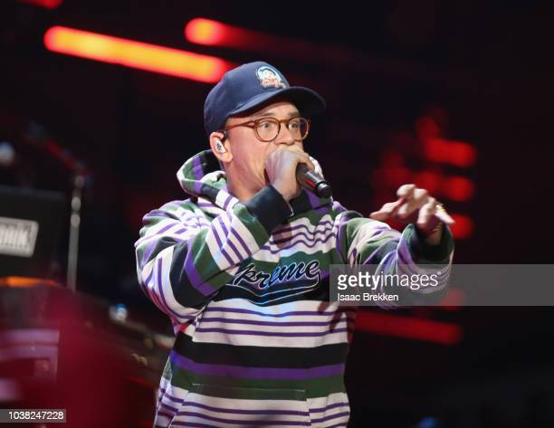 Logic performs onstage during the 2018 iHeartRadio Music Festival at TMobile Arena on September 22 2018 in Las Vegas Nevada