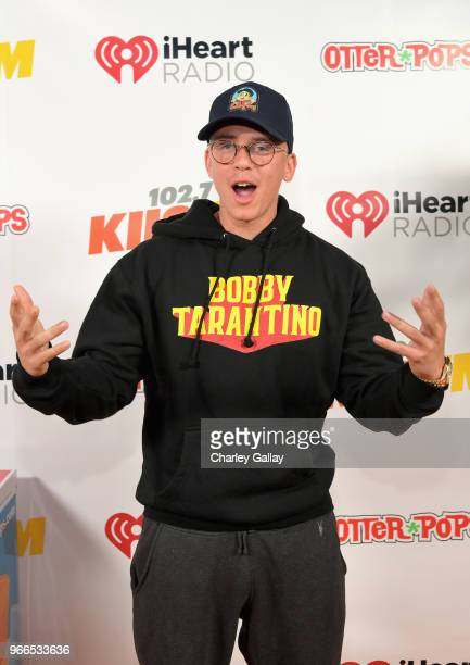 Logic poses backstage at the 2018 iHeartRadio Wango Tango by ATT at Banc of California Stadium on June 2 2018 in Los Angeles California