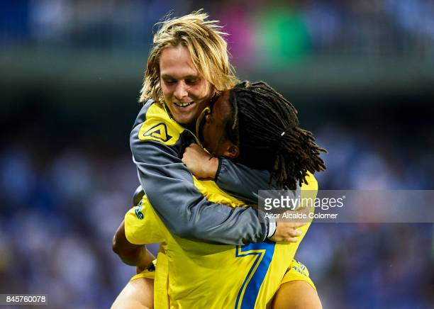Logic Remy of Union Deportiva Las Palmas celebrates after scoring with Allen Halilovic of Union Deportiva Las Palmas during the La Liga match between...