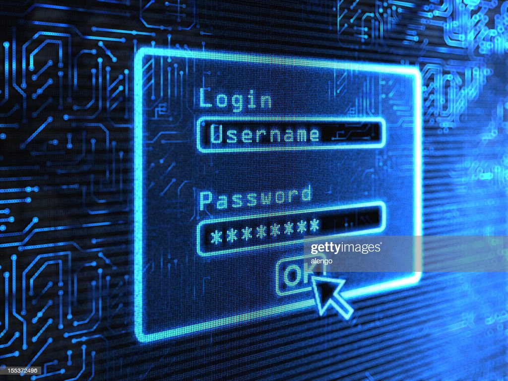 A login and password box on a blue computer screen : Stock Photo