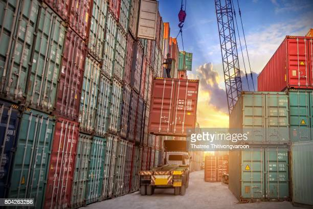 Logistics and transportation of Industrial Container Cargo freight ship for Logistic Import Export concept